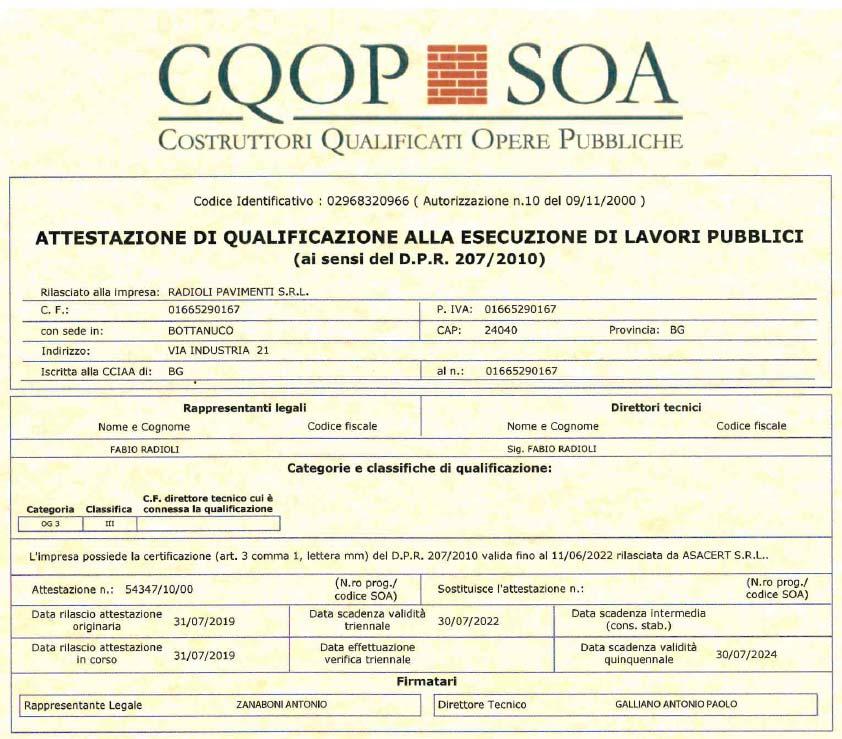 pavimenti in pietra di qualità certificata attestato CQOP SOA
