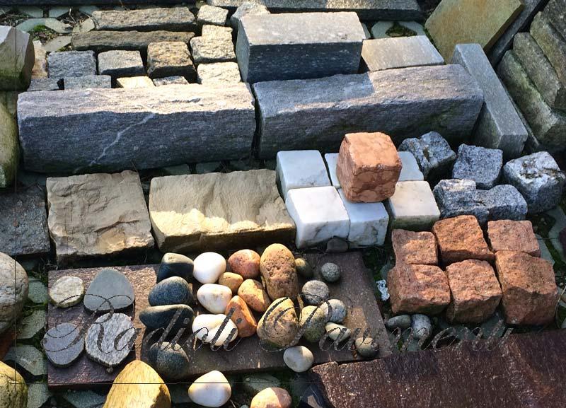pietre per pavimenti esterni, cubetti in porfido granito e marmo
