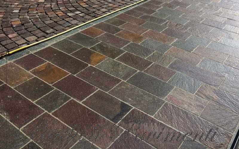 pavimento in porfido piastrelle segate piano cava