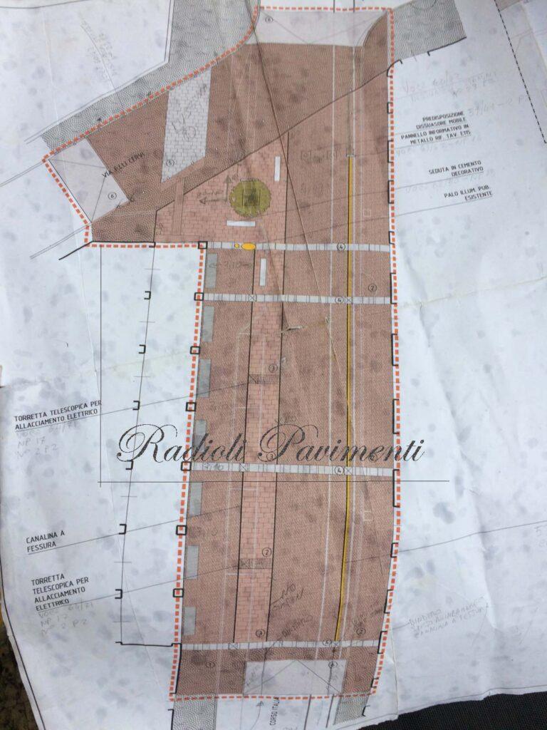 bozza di progetto pavimentazione in pietra Desio Corso Italia Mapestone Sistem