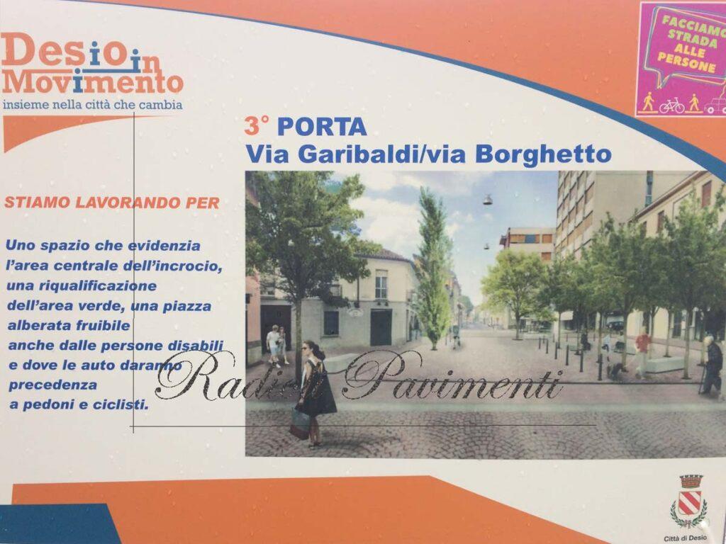 Pavimento in pietra a Desio, Via Garibaldi- Borghetto Mapestone Mapei